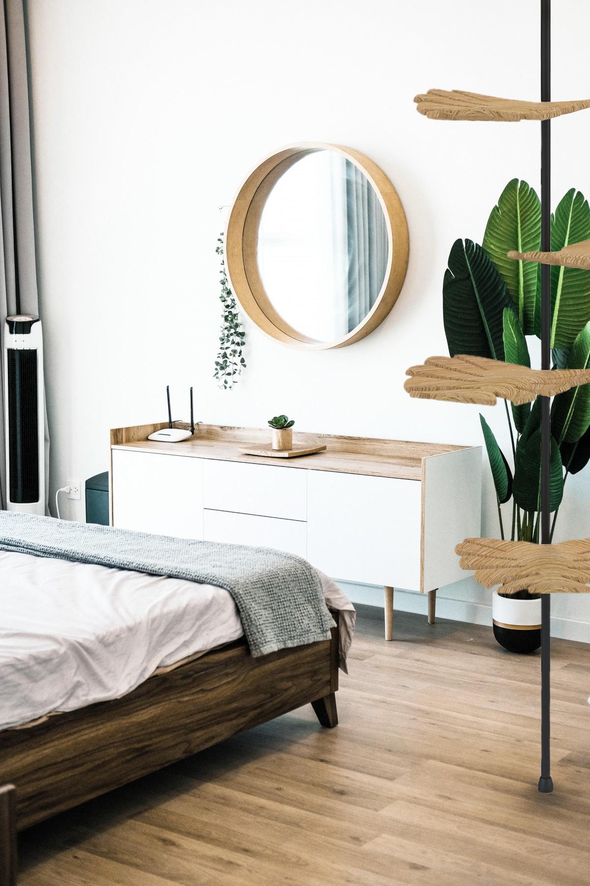 Schlafzimmer mit Kleiderblatt
